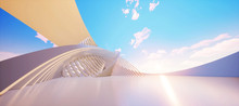 Colorful Abstract Panoramic Background: Geometric White Ring. ( Car Backplate, 3D Rendering Computer Digitally Generated Illustration.)