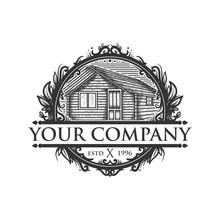 Vintage Wooden House Vector Logo Emblem
