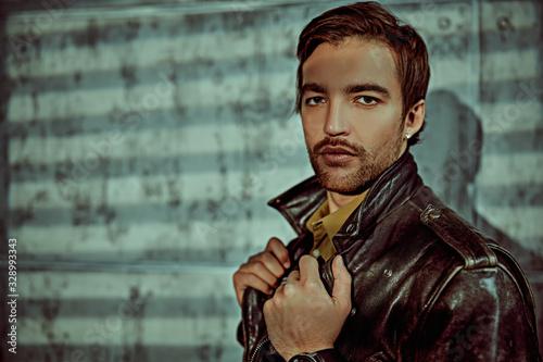 brutal man in leather jacket Fototapet