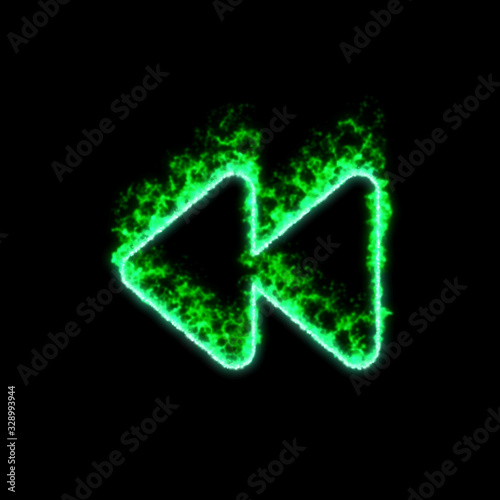 The symbol backward burns in green fire Canvas Print
