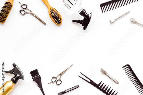 Beauty saloon accessories - combs, sciccors for hairdressing - on white backgrou Canvas Print
