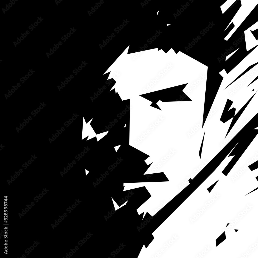 Fototapeta Czarno-biała ludzka twarz. Ilustracja wektorowa.
