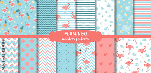 Fotografía Pink Flamingo seamless patterns set Cute summer tropical background