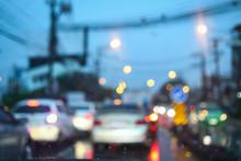 Traffic Jam On Night Road City...