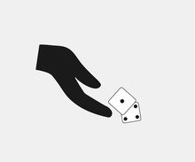 Hand Throwing Dice Icon. Vecto...