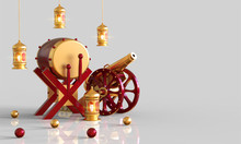 3d Rendering Of Red Gold Drum Islamic, Cannon, Lantern And Geometric Round Shape Isolated On White Background, Ramadan Kareem Concept - 3d Illustration