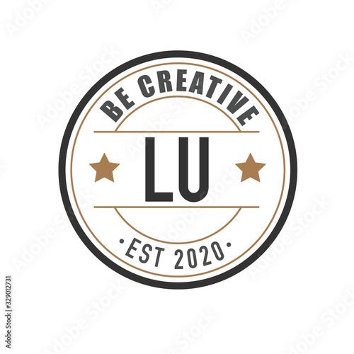 Initial Letter lu Elegance Logo Design Template. Vintage circle line badge template logo Fototapete