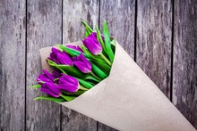 Bouquet Of Purple Tulips On A ...