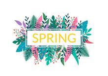 Spring Floral Banner Or Logo W...