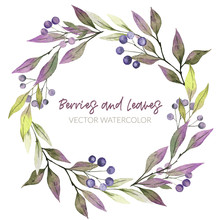 Watercolor Greenery Wreath, Pu...