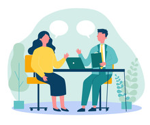 Candidate And HR Manager Having Job Interview. Business Man And Woman Meeting At Table, Talking With Speech Bubbles. Vector Illustration For Conversation, Career, Human Resource Concept