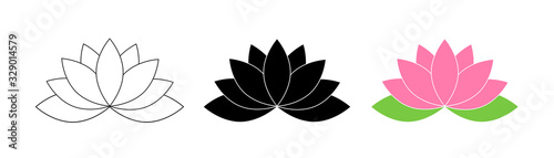 Obraz Lotus flowers. Lotus in flat deisgn, isolated on white background. Lotus Flower Logo. Flowers Harmony icons. Vector illustration - fototapety do salonu