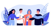 Young Friends Drinking Cocktails At Party Flat Vector Illustration. Happy Teenager Characters Smiling, Rousing Cheers Together And Celebrating. Alcohol Drink And Friendship Concept