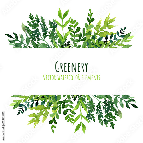 Watercolor greenery banner, card template, hand drawn vector Fototapete