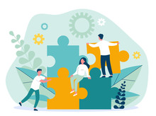 Business Team Constructing Jigsaw Solution. People Connecting Big Pieces Of Puzzle. Vector Illustration For Community, Merger, Discovery, Teamwork Concept
