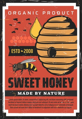 Photo Apiary, beekeeping retro poster with wild bees flying at hive