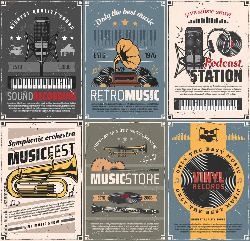 Fototapeta Music and sound recording retro posters. Vector vintage cards with audio gramophone, podcast station and microphone, headphones and vinyl records, trumpet, cornet and clarinet instruments, guitar