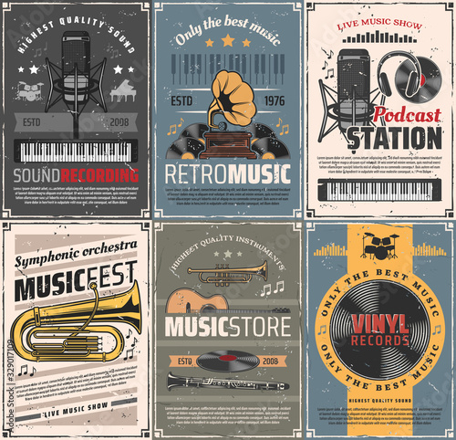 Obraz Music and sound recording retro posters. Vector vintage cards with audio gramophone, podcast station and microphone, headphones and vinyl records, trumpet, cornet and clarinet instruments, guitar - fototapety do salonu