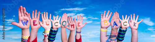 Children Hands Building Colorful Word Welcome Back Wallpaper Mural