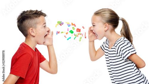 Children shouting out alphabet letters Canvas Print