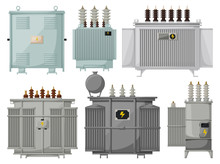 Transformer Vector Installation On White Background . Isolated Cartoon Set Icon Energy Substation. Vector Cartoon Set Icon Transformer.