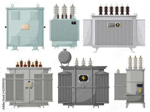 Fototapeta Transformer vector installation on white background . Isolated cartoon set icon energy substation. Vector cartoon set icon transformer. obraz