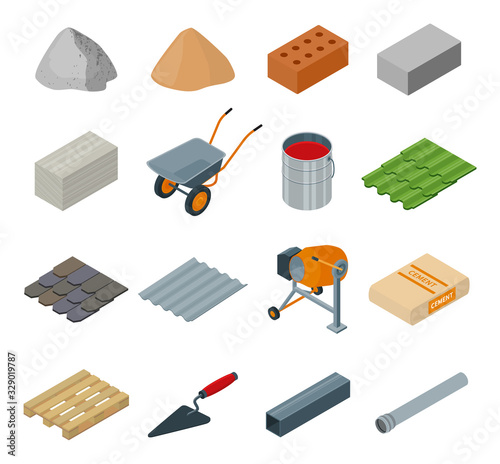 Construction material isometric set icon Canvas-taulu