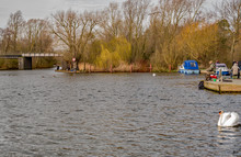 The Riverside Park In The Village Of Wroxham. A Great Place For Boaters, Anglers, Dog Walkers And Families