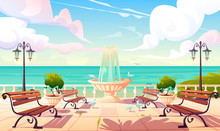 Summer Seafront With Fountain, Benches And Vintage Fence. Vector Cartoon Sea Landscape With Quay, Empty Ocean Promenade With Decorative Trees, Street Lamps And Gulls