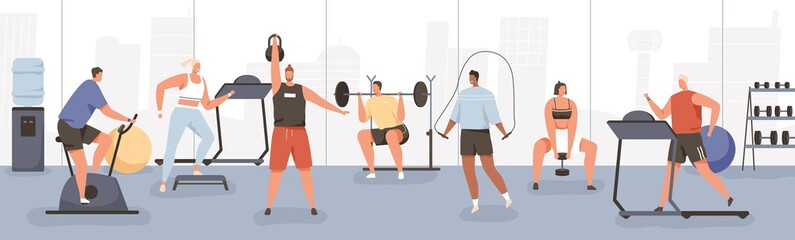 Fototapeta na wymiar Different cartoon people exercising at modern gym vector flat illustration. Athletic man and woman on training apparatus have various physical exercises enjoy sport activity