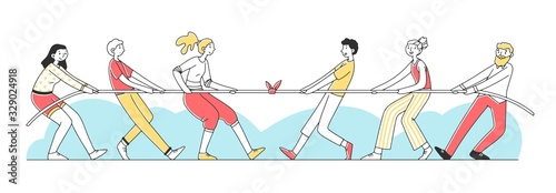 Two groups of people pulling rope flat vector illustration Canvas Print