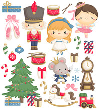 A Vector Set Of Cute Cartoon Character For Fairy Tale Nutcracker