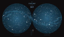 Star Constellations Around The Poles. Nothern And Southern High Detailed Star Map With Symbols And Signs Of Zodiac.