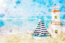 Abstract Watercolor Style Image Of Nautical Concept With Old Boat