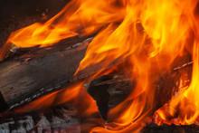 Burning Bonfire Close Up Backg...