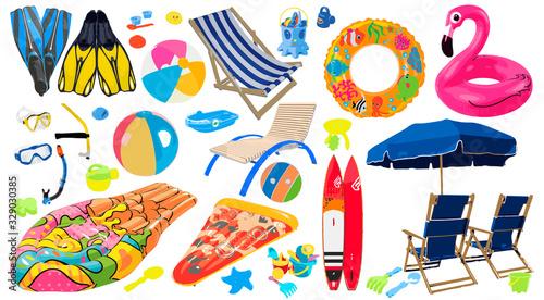 Fotografía Vector set of items for a beach holiday