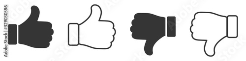 Obraz Set of Like icons. Up and down thumbs icon. - fototapety do salonu