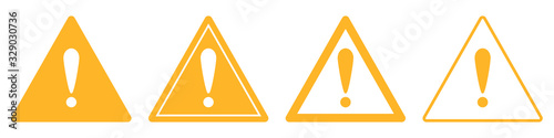 Carta da parati Triangular warning symbols with Exclamation mark.