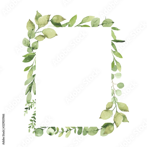 Fototapeta Watercolor geometrical frame with greenery leaves branch twig plant herb flora isolated on white background. Botanical spring summer leaf decorative illustration for wedding invitation card obraz