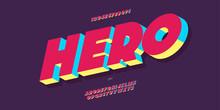 Vector Hero Font 3d Bold Color...