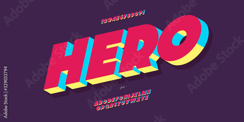 Cuadros en Lienzo Vector hero font 3d bold colorful style modern typography for poster, event decoration, motion, video, game, t shirt, book, banner, printing