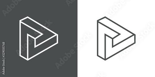 Icono lineal triángulo imposible en fondo gris y fondo blanco