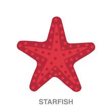 Starfish Flat Icon On White Tr...