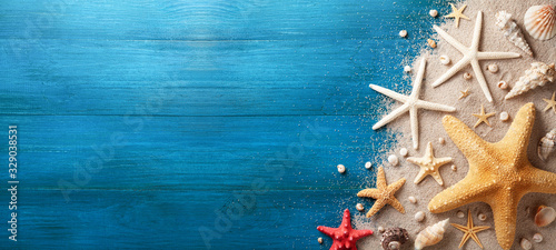 Photo Seashell, starfish and beach sand on blue wooden background