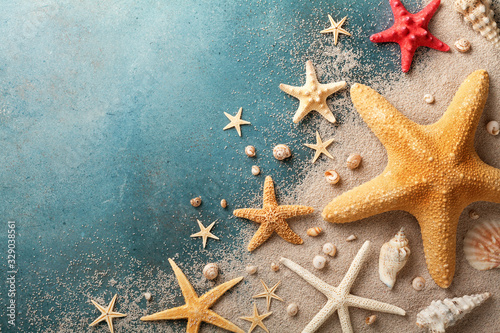 Fototapeta Seashell, starfish and beach sand on blue background