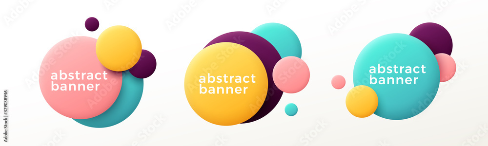 Fototapeta Set of modern abstract graphic elements. Flowing fluid shape banners. Vector illustration.