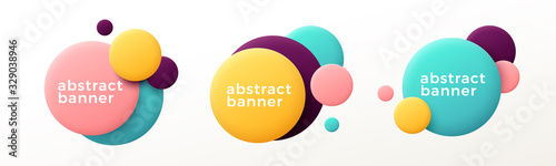 Fototapeta Set of modern abstract graphic elements. Flowing fluid shape banners. Vector illustration. obraz