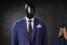 Male Suit On Mannequin In Studio