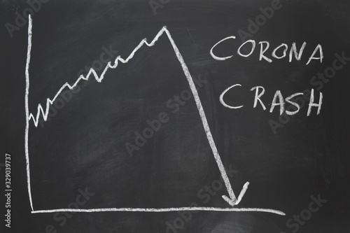 Obraz corona crash - hand-drawn graph on chalkboard showing stock market collapse or financial economy crisis caused by coronavirus - fototapety do salonu