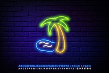 Neon Sign, Three Palm Trees Of...